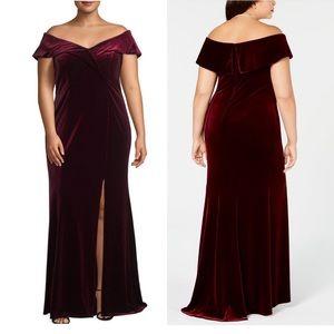 XSCAPE Plus Size Off-The-Shoulder Velvet Gown 22W